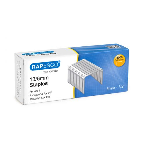 Rapesco 13/6mm Galvanised Staples PK5000
