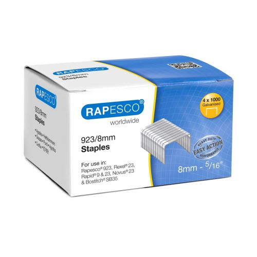 Rapesco 923/8mm (23 Type) Galvanised Staples PK4000