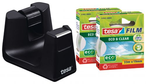 Tesafilm Recycled Desk Dispenser Black with 2 Rolls of Tape 19mmx33m 53905