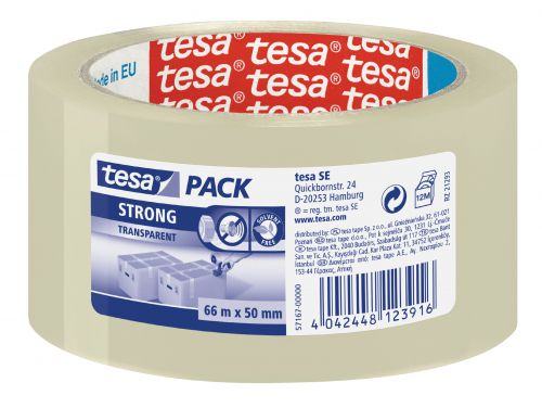 tesa Strong PP Packaging Tape 50mmx66m Transparent 57167 PK6