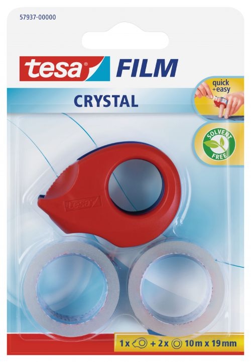 tesafilm Mini Crystal Dispenser w/2 rolls 19mmx10M Red