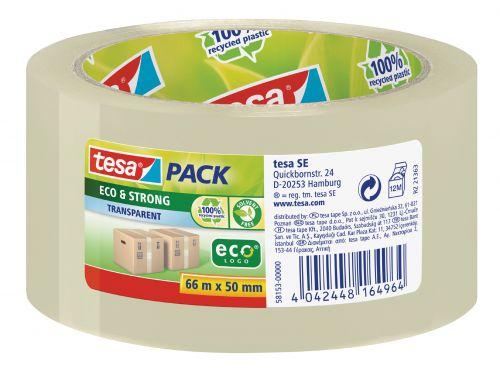 tesa EcoLogo Polypropylene Tape 50mmx66m Transparent 58153 PK6