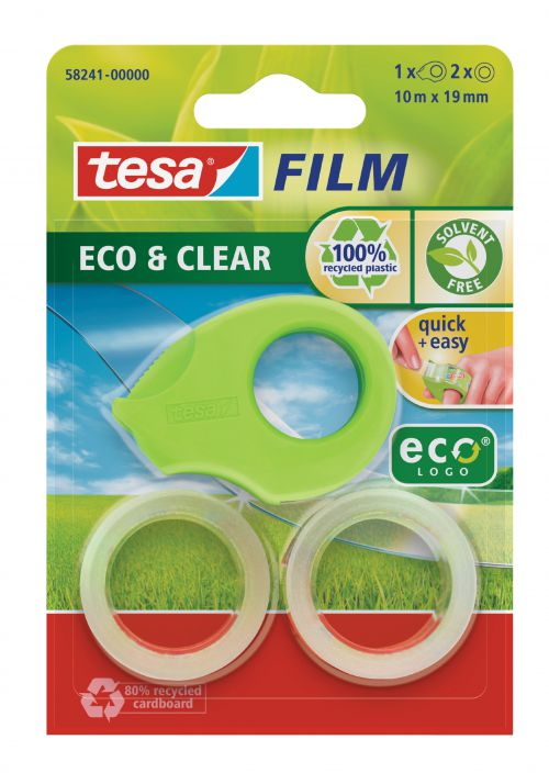Tesafilm eco and clear Mini Dispenser Green with 2 Rolls of Tape 19mmx10m