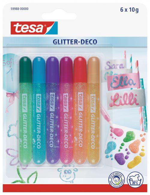 tesa Glitter Pens 6 assorted pastel colours 59988 PK12