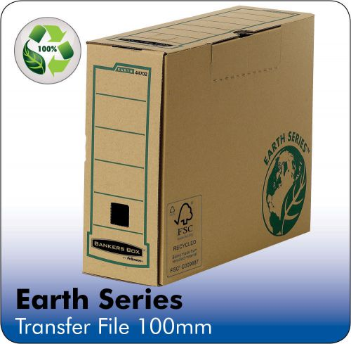 Bankers Box by Fellowes Earth Srs Transfer Bx File Rcyc FSC Tab Lock Lid W100mm A4 Ref 4470201 [Pack 20]