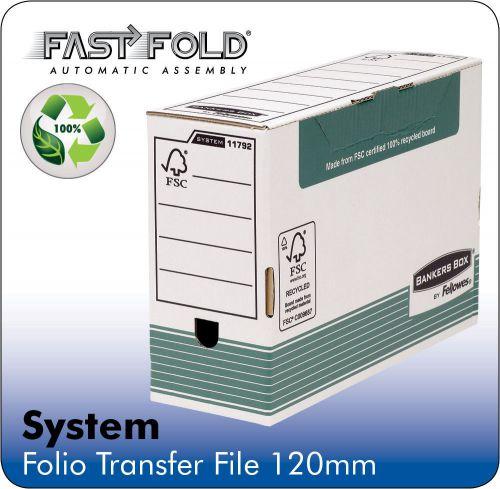 Fellowes Bankers Box Transfer File 120mm Green/White Ref 1179201 [Pack 10]
