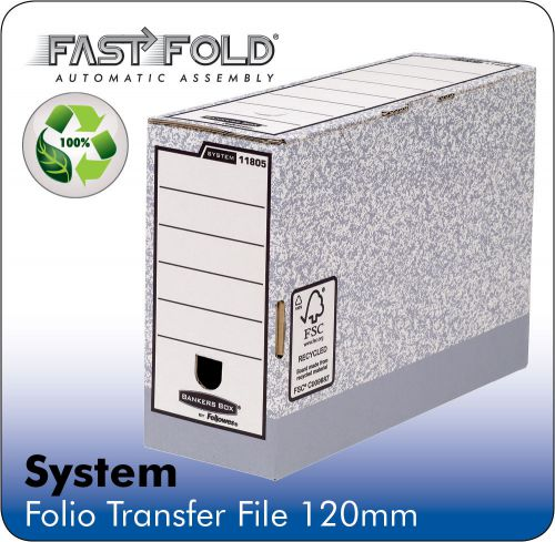 Fellowes System 120mm Folio Trans File Grey PK10