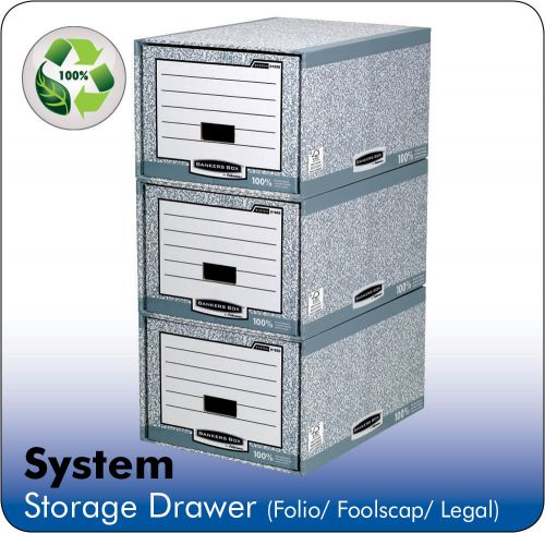 Bankers Box by Fellowes System Storage Drawer Stackable Grey/White FSC Ref 01820 [Pack 5]