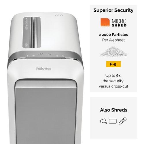 Fellowes Powershred LX221 Micro-Cut Shredder White 5050501
