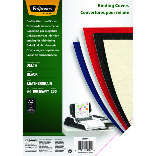 Fellowes Binding Covers Delta Coverboard 270gsm A4 BK PK100