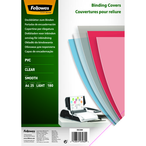 Fellowes PVC Cover A4 180 Microns Clear 5380001 (PK25)