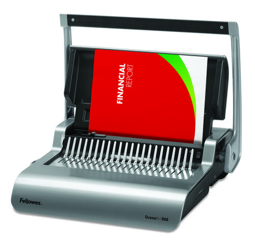 Fellowes Grey Quasar+ 500 Manual Comb Binding Machine 5627701 BB65125