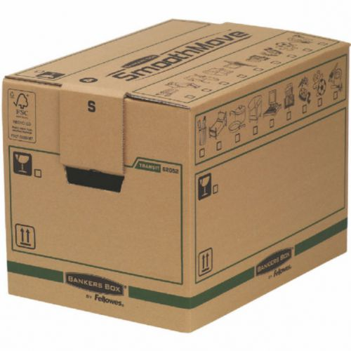 Fellowes Bankers Box Moving Box Small Brown Green (Pack of 5) 6205201 BB60703