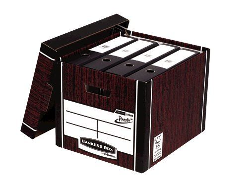 Bankers Box Premium Storage Box Presto Tall Woodgrain FSC Ref 7260503 [Pack 12] [12 for the price of 10]