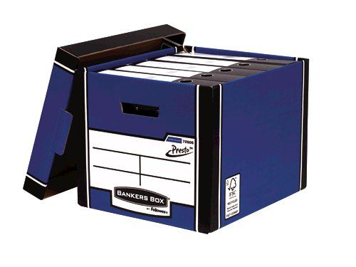 Fellowes Bankers Box Premium Presto Storage Box Blue/White (Pack of 12) 7260603