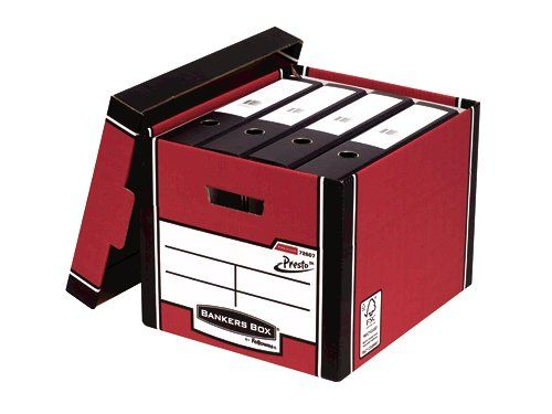Fellowes Bankers Box Premium Storage Box Presto Board Red (Pack 10)