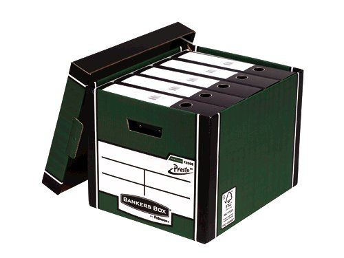 Fellowes Bankers Box Premium Storage Box Presto Board Green (Pack 10)