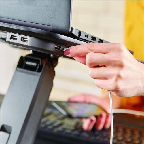 Fellowes Hana Laptop Support Height Adjustable 230V USB Black 8064301