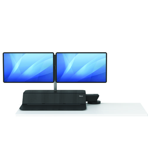 Fellowes Lotus Sit Stand Work Station Dual Screen Black 8081601 - BB73583