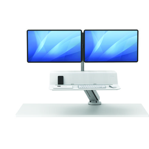 Fellowes Lotus Sit Stand Work Station Dual Screen White 8081601