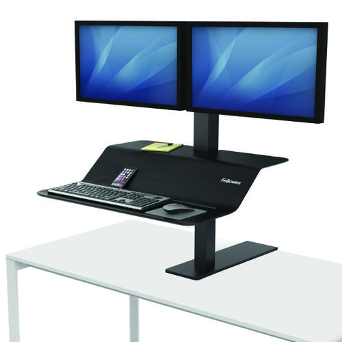 Fellowes Lotus VE Sit Stand Workstation Dual Black