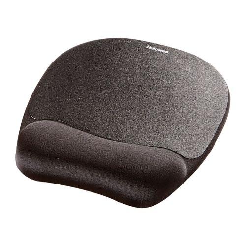 Fellowes Memory Foam Mousepad Wrist Support Black