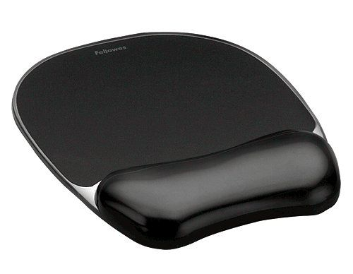 Fellowes Crystal Mouse Mat Pad with Wrist Rest Gel Black Ref 9112101