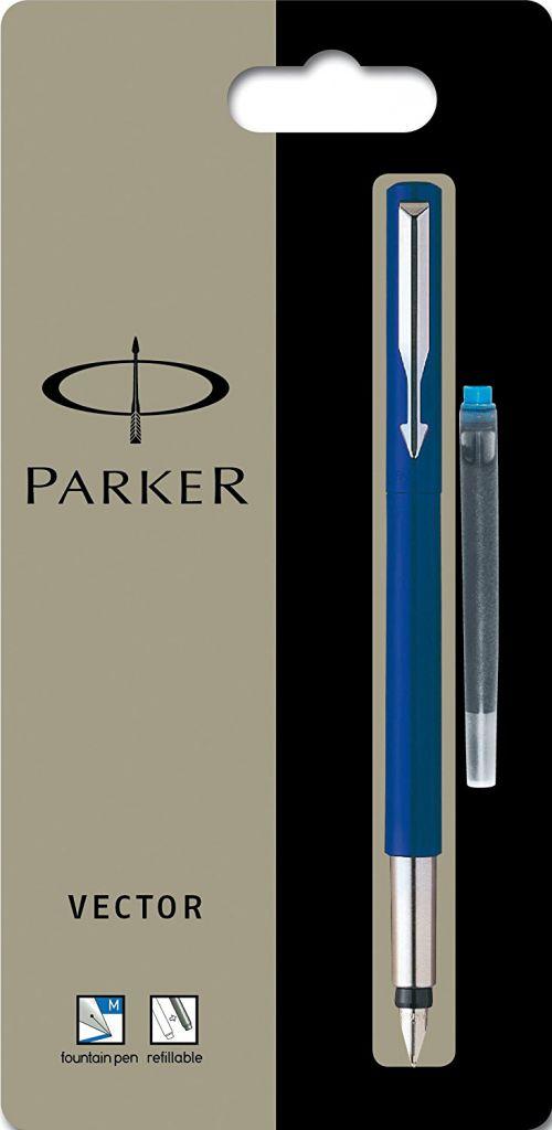 Parker Vector Stainless Steel Trim Fountain Pen Med Nib Blue
