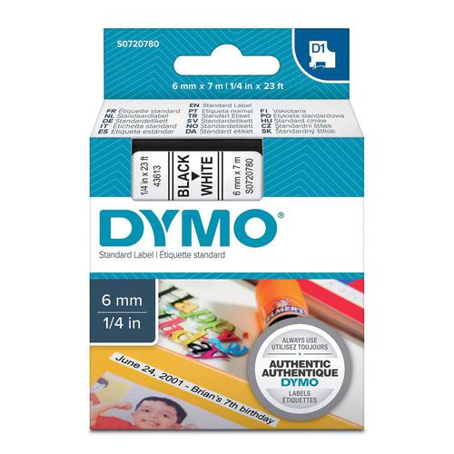 Dymo D1 Tape Cartridge 6mm x 7m Black on White S0720780