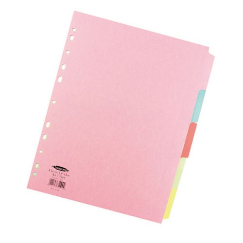 Concord Divider 5 Part A4 160gsm Board Pastel Assorted Colours