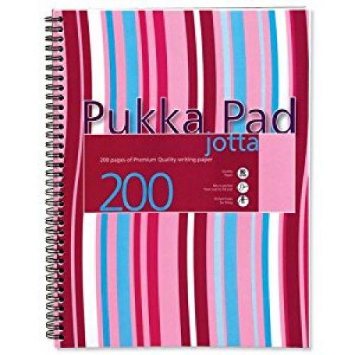 Pukka Pad A4 Polyprop Jotta 200 Page Pink Strips PK3