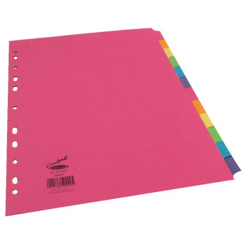 Concord Divider 12 Part A4 160gsm Board Bright Assorted Colours 50999