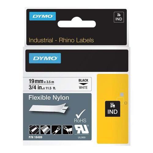 Dymo Rhino Industrial Nylon Tape 19mm x 3.5m Black on White 18489