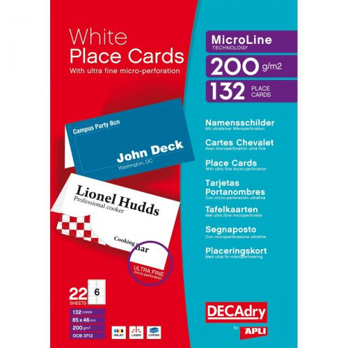 Decadry Place Cards for Folding 200gsm 6 per A4 Sheet 85x46mm Pack 132