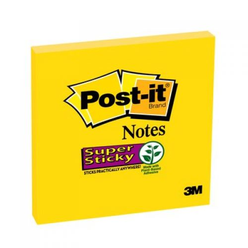 Post-it Yellow Super Sticky Notes 76x76mm 654-S6 PK6