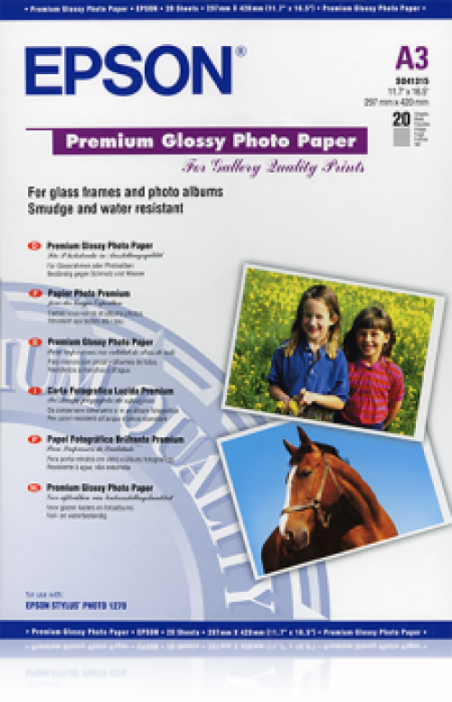 Epson Premium Photo Paper Glossy 255gsm A3 C13S041315 [Pack 20]