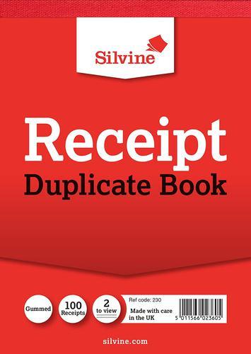 Silvine Duplicate Receipt Book 105x148mm Gummed PK12