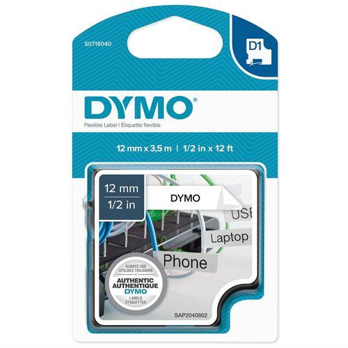 Dymo D1 Nylon Tape 12mm x 3.5m Black on White S0718040