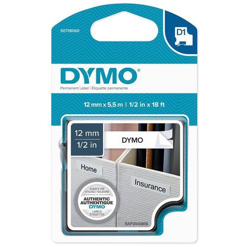Dymo D1 Polyester Tape 12mm x 5.5m  Black on White S0718060