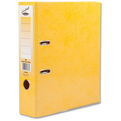 Concord Contrast Lever Arch File Laminated Paper on Board A4 70mm Spine Width Yellow (Pack 10)