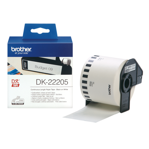 Brother Black on White Continuous Length Paper Tape 62mm DK22205 BA62997