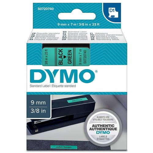 Dymo D1 Tape Cartridge 9mm x 7m Black on Green S0720740