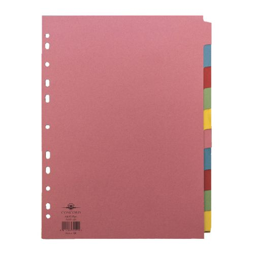 Concord Divider 10 Part A4 (2x5 Colours) 160gsm Board Pastel Assorted Colours