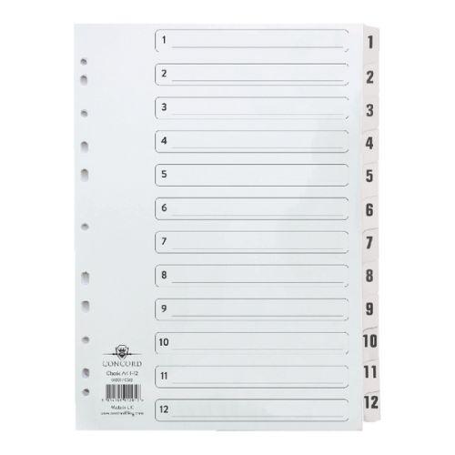 Concord Classic Index Set 1-12 Clear Mylar CS12