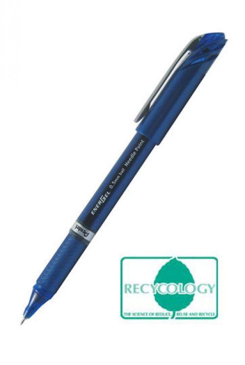 Pentel Energel Plus Needle Tip Rollerball 0.5mm Blue- PK12
