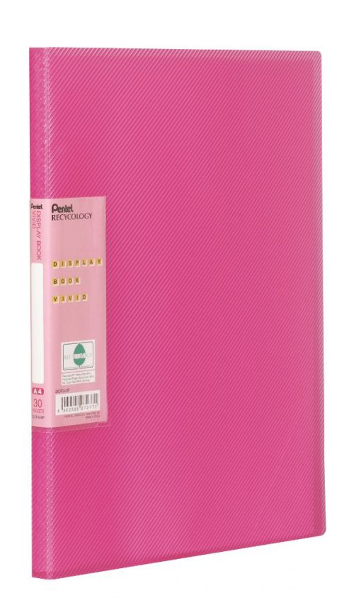 Pentel Recycology Vivid A4 Display Book 30 Pockets Pink PK10