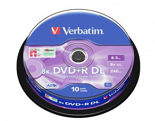 VERBATIM 43666 DVD+R DB LAYER 8.5GB 10PK