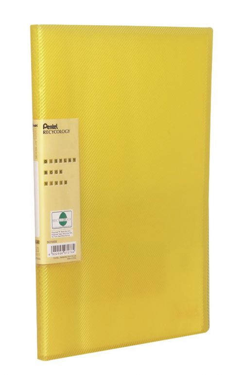 Pentel Recycology Vivid A4 Display Book 30 Pockets Yellow (Pack 10)