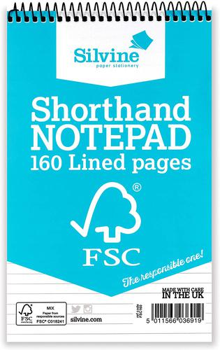 Silvine FSC Spiral Bound Shorthand Notebook Feint (Pack 10)