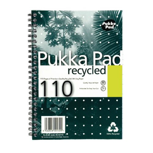 Pukka Pad A5 Wirebound Card Cover Notebook Recycled Ruled 110 Pages Green (Pack 3)